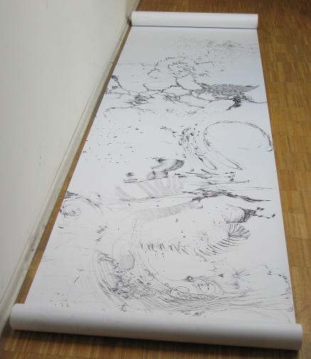 """""""Von der Suche nach dem, was kommt"""", 2007 Kuli auf Papier, 80 x 300 cm"""
